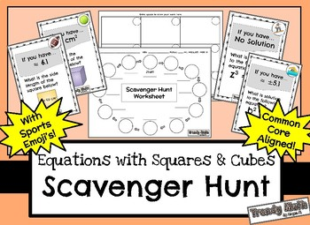 Equations with Squares and Cubes Scavenger Hunt