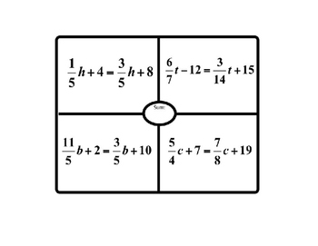 Equations with Variables on Both Sides Placemat Activity