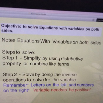 Equations with Variables