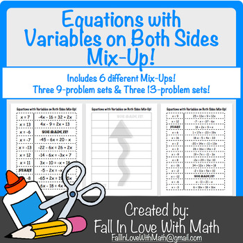 Equations with Variables on Both Sides Mix-Up!