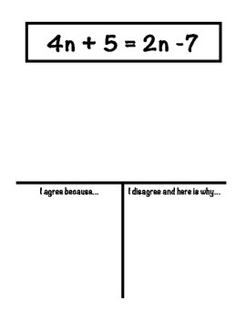Equations with Variables on Both Sides Agree/Disagree