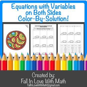 Equations with Variables on Both Sides Color-By-Number!
