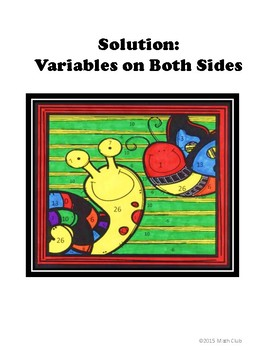 Equations with Variables on Both Sides Coloring Activity