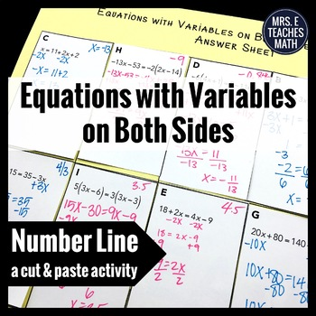 Equations with Variables on Both Sides Cut and Paste Activity
