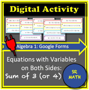 Equations with Variables on Both Sides Digital Activity: Sum of 3 (or 4)