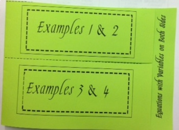 Equations with Variables on Both Sides - Foldable