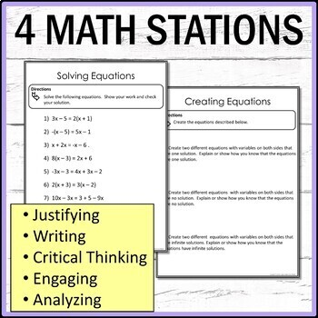 Equations with Variables on Both Sides Middle School Math Stations