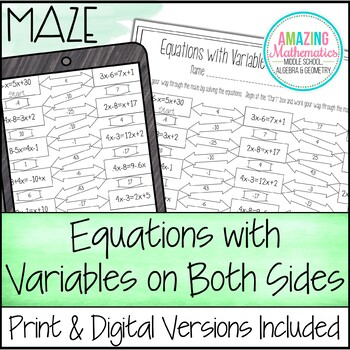 Solving Equations With Variables On Both Sides Maze Worksheet Tpt