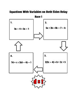 Equations with Variables on Both Sides Relay Race