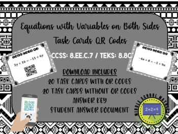 Equations with Variables on Both Sides Multi-Step Task Cards QR Codes