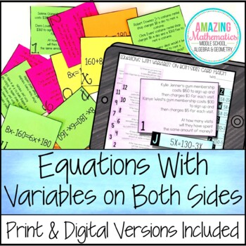 Systems of Equations Word Problem Matching Cards by Amazing Mathematics