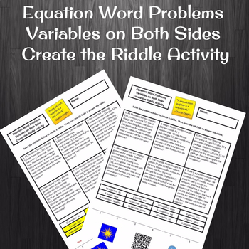 Equations with Variables on Both Sides Word Problems Create the Riddle Activity