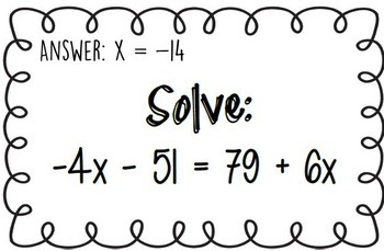 Equations with Variables on both sides-Scavenger Hunt-Game