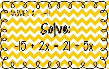 Equations Scavenger Hunt - Review Game - Variables on both sides