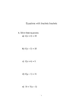 Equations With Brackets Worksheet With Solutions By Math W Tpt