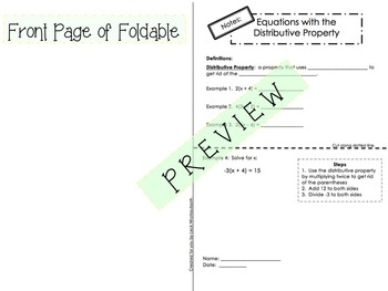 Equations with the Distributive Property Foldable for Interactive Notebooks