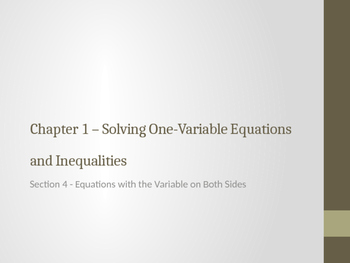 Equations with the Variable on Both Sides