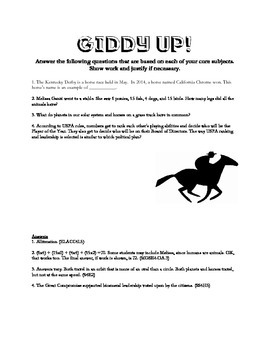 Equestrian Based Fourth Grade Review Questions