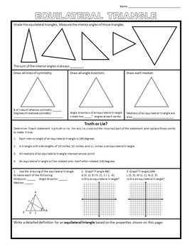 Equilateral, Isosceles, and Scalene Triangles Properties Sheets