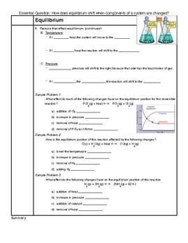 Equilibrium Notes HS-PS1-6