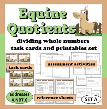 Equine Quotients - dividing whole numbers task cards & printables (set a)