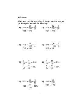 Equivalences between fractions, decimals and percentages