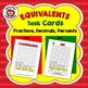 EQUIVALENCY FLASH CARDS, TASK CARDS:  FRACTIONS, DECIMALS, PERCENTS EQUIVALENTS