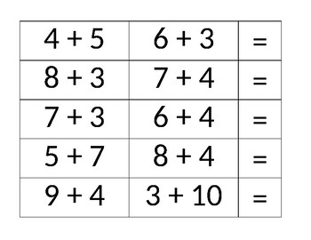 Equivalent Addition Number Sentence Match Game