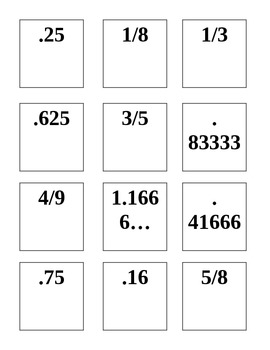 Equivalent Decimal and Fraction Memory