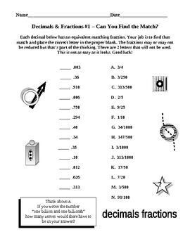 Equivalent Decimals Equivalent Fractions Matches