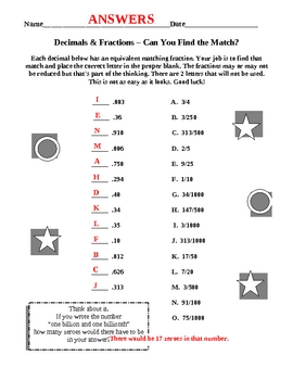 Equivalent Decimals & Fractions Matches