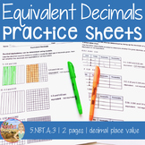 Equivalent Decimals Practice Sheet