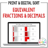 Equivalent Fractions and Decimals Sorting Cards