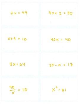 Equivalent Equations: MEMORY