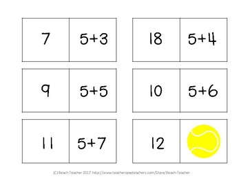 Equivalent Equations Dominoes (Sports Themed) 1.OA.6