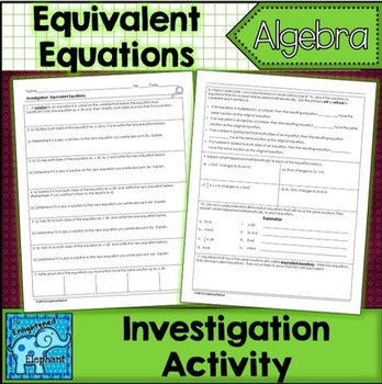Equivalent Equations Investigation Activity