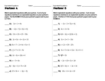 Equivalent Equations Partner Match Activity