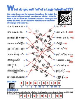 Equivalent Equations Riddle Worksheet