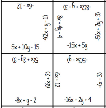 Equivalent Expressions Square Puzzles (TWO Differentiated Puzzles Included)