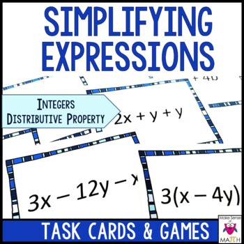 Equivalent Expressions Task Cards using Integers