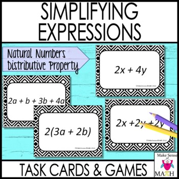 Equivalent Expressions Task Cards using Natural Numbers