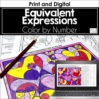 Equivalent Expressions Color by Number (Valentine-theme)