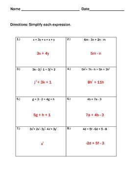 Equivalent Expressions : Combining Like Terms Guided Notes and Practice