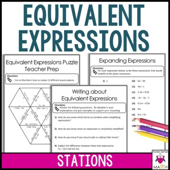Equivalent Expressions and Combining Like Terms Middle School Math Stations