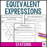 Equivalent Expressions Combining Like Terms Math Stations : Middle School Math