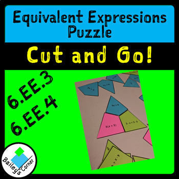 Equivalent Expressions Cut and Go Match Puzzle