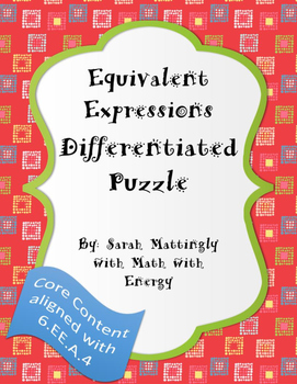 Equivalent Expressions Differentiated Puzzle