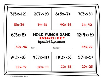 Equivalent Expressions (Distributive Property) Hole Punch Game