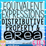Equivalent Expressions, Distributive Property and AREA Task Strips CCSS 6.EE.3