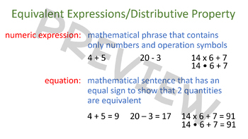 Equivalent Expressions, Distributive Property and Area Models - 6.EE.3